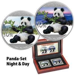 China - 2 x 10 Yuan 2017 - Panda - Night & Day - Satz - 2 x 30 gr Silber ST