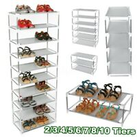 2-10 Tiers Silver Iron Shoe Rack Stand Stackable Tower Shelf Storage