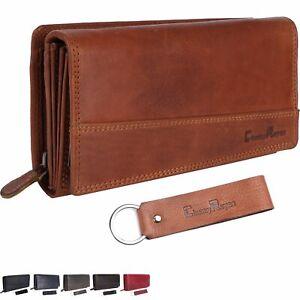 Chunkyrayan Damen Portemonnaie Echtleder XXL RFID Schutz inklusive Leder Schlüs