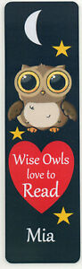 CHILDRENS PERSONALISED OWL BOOKMARK,  OWLS LOVE TO READ.18cm x5cm laminated