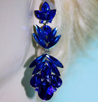 Chandelier Earrings Rhinestone Austrian Crystal Bridal Prom Pageant 2.9 in Blue