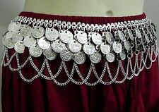 India Vintage Kuchi Tribal SIlver COins Chain Belt Belly Dance Hip Skirt Jewelry