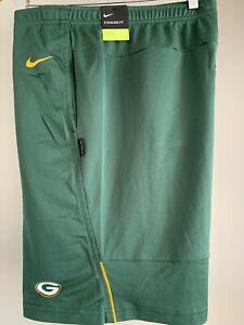 Nike NFL Green Bay Packers DRI-FIT COACHES SHORTS Green NKDN-063K Men's S NWT