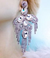 Clear Rhinestone Chandelier Earrings Oversized 5.4 In