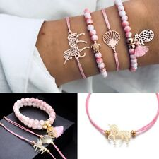 Pendant Jewelry Weave Rope Beads Chain Unicorn Bracelet Set Cuff Bangle