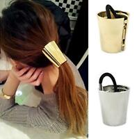 Hot Sale Women Hair Band Metal Hair Cuff Circle Wrap Pony Tail Holder Ring Rope