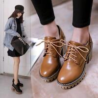 Womens Lace Up Platform Chunky Heel Shoes Motorcycle Biker Boots Casual Shoes #