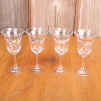 4 Hummingbird Clear Glass Wine Glasses Goblets