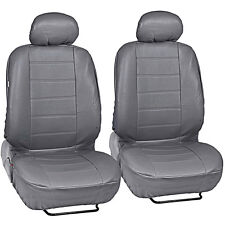 Synthetic Leather Car Seat Covers - Premium PU Material - Gray Front Pair