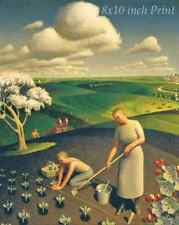 Spring in the Country by Grant Wood - Plant Woman Man Farm Work 8x10 Print 1787