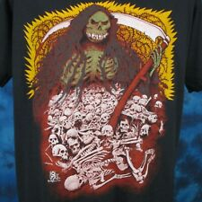 vintage 80s GRIM REAPER CARTOON PAPER THIN T-Shirt S satan skeleton punk biker