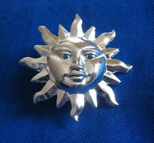 Green Crystal Eyes and Clutch Backs Silver Plate Celestial Sun Face Pin with