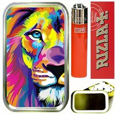 RAINBOW LION SMOKING SET, GOLD 1oz TOBACCO TIN,LIGHTER, PAPERS & FILTERS