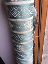 10m Mid Green Fleur De Lys Stripe Jacquard Fabric Curtains FREE POSTAGE