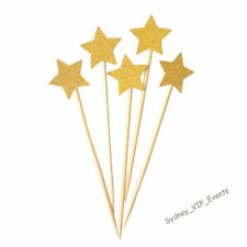 CAKE TOPPER GLITTER STARS GOLD PARTY CUPCAKES PICK PAPER SIGN DECORATION 5PK