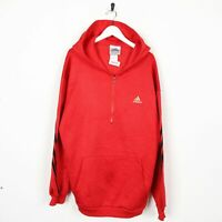 Vintage 90s ADIDAS Small Logo Polyester 1/2 Zip Hoodie Sweatshirt Red | Large L