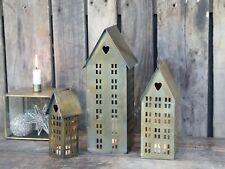 Antique Brass Metal House Tea Light Holder Hanging Lantern Candle Christmas Tall