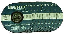 """10 x 3"""" (75mm) Slim Metal Cutting Discs : 75mm x 1.6mm x 10mm Bore"""