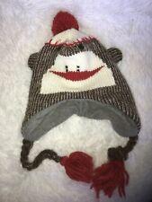 Sock Monkey Ear Flap Ski Style Knit Hat with Poly Fleece Lining Adult Size