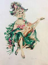 Henri Laville grande Lithographie jeune femme à la guitare sur Arches