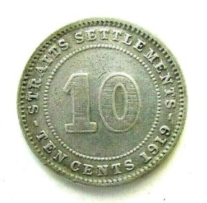 BRITISH STRAITS SETTLEMENTS COINS, 10 CENTS 1919, GEORGE V, SILVER 0.400