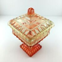 Vintage Amberina Covered Candy Dish Jeannette Wedding Cake Design MCM 6 1/2 inch