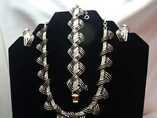 Vintage estate Coro bagette necklace, bracelet, and earring set with box.