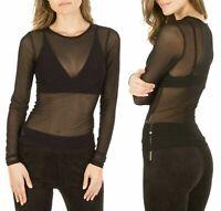 Women Long Sleeve See Through Top Ladies Mesh Fishnet Sheer Top Tee Shirt Black