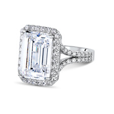 6.38Ct White Emerald Cut Diamond Engagement Wedding Ring In 925 Sterling Silver