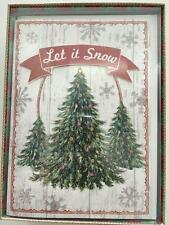 Punch Studio Embellished Holiday Christmas Cards Trees Let It Snow Set 12