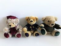 "Harrods of Knightsbridge Set of 3 Plush 7"" Green, Burgundy & Purple Accent Bears"