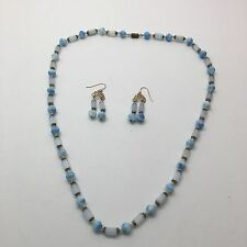 Vintage Blue and White Milk Glass Beaded Necklace and Earrings