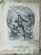 Very Early 1874 Antique Sheet Music, Shepherd'S Evening Song, Sheep, Gift