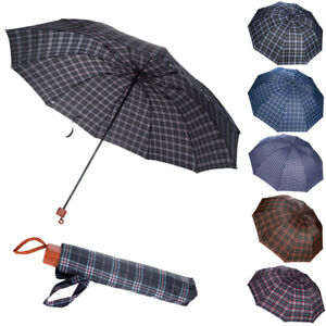 "50"" Men Plaid Windproof Anti-UV Protection Compact Folding Sun Rain Umbrella US"