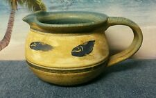 Hand Crafted Ceramic Glazed Pitcher - Blue/Tan/Brown with Etched Fish Design