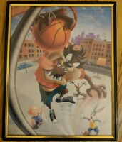 Taz (Tasmanian Devil) Dunking framed picture year 2000 10.25 X  8.25 inches