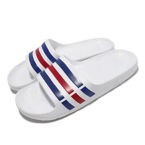 adidas Duramo Slide White Blue Red Men Unisex Sports Sandals Slippers U43664