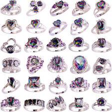 40 Styles Fashion Women Topaz Rainbow Gemstone Silver Ring Jewelry Size 6-13