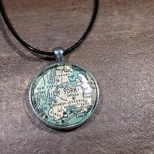QUEENS NEW YORK NY UNITED STATES USA old Map Pendant Silver necklace ATLAS
