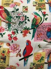 PARROTS Fabric curtain Upholstery material £6.99/m Free Postage