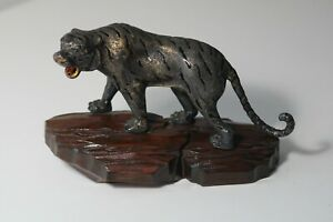 Vintage Chinese Export Enameled Solid Silver Tiger Figure