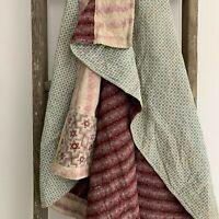 French antique quilt c1840 Blue floral pieced quilt textile quilted textiles