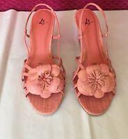 Lifestride Womens Sandal Pink SZ 8.5M Kitten Heels Sling Back Faux Leather Pink