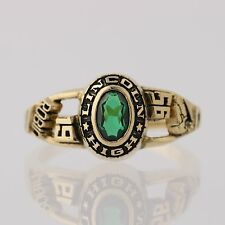 Women's Class Ring - Synthetic Green Spinel Lincoln High School 1995 Size 6.25