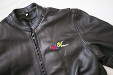 Vintage Retro eBay Motors Black Leather Zip Motorcycle Jacket Moto RARE Mens XL