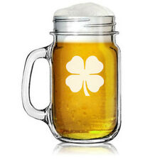 16oz Mason Jar Glass Mug 4 leaf Clover