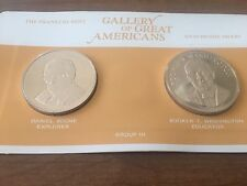1970 FRANKLIN MINT GALLERY OF GREAT AMERICANS COIN MEDAL Boone & B T. Washington