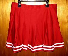 ZooZatz Cheerleading Cheer Skirt Size Medium Plain Red White Stripe Pleated Zip