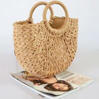 Ladies Wicker Handbag Totes Beach Straw Woven Bag Retro Rattan Basket Bag Gifts