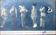 1914 Realphoto Fashion Postcard: 'Silhouettes Parisiennes - Robes de Ville'